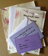 25 Custom Hand Made Paper Invitations and Envelopes for Wedding, Anniver., Baby