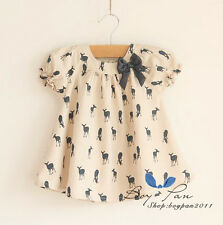 Summer Hot Kids Toddlers Girls Clothing Bow T-Shirt Short Sleeve Tops Ages2-8Y