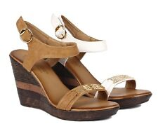 "Beige White / Camel Summer Faux Leather 4""Heels Womens Wedges Sandals Shoes"