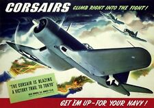 Vintage Poster Corsairs climb right into the fight Get em up  for your Navy   Jo