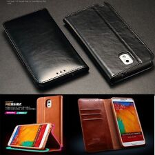 Luxury Genuine Cow Leather Wallet Card Cover Case For SAMSUNG GALAXY Note 3 III