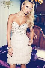LIPSY VIP @ NEXT STUNNING NUDE LAYERED EMBELLISHED BANDEAU DRESS SIZE 12 14 BNWT