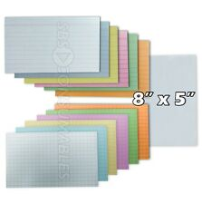 100x Record Cards - Lined, Squared or Plain. Index / Flash Cards. 8x5 / 200x125