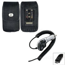 Heavy Duty Car Charger + Vertical Canvas Belt Clip Case for Samsung Cell Phones