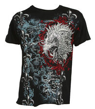 Konflic Men's Giant Tribal Eagle Graphic MMA Muscle Crew Neck T-shirt