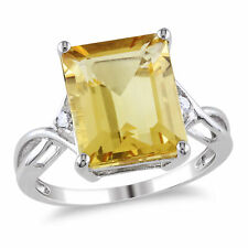 Sterling Silver 6.61 Ct Citrine and White Topaz Crossover Ring