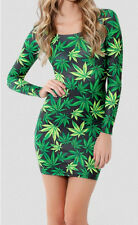 New Sexy Hiphop Green Weed Maple Leaf marijuana Print Long Sleeve Tights dress