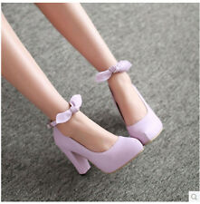 2014 New Women's Buckle Bow Pointed Toe Thick High Heel Platform Shoes C1051
