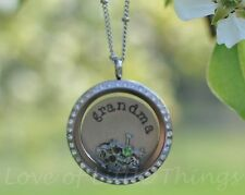 Necklace Gift for Grandmother Grandma Necklace Silver Floating Locket Jewelry