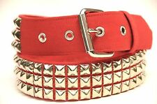 Canvas Belt Three Row Pyramid Stud Red Punk Rock Gothic 70's British Style