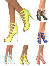 WOMENS STRAPPY LACE UP CUT OUT STILETTO HEEL GLADIATOR PEEP TOE SHOES SANDALS