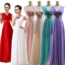 1 Lady Elegant Wedding Bridesmaid Ball Evening Chiffon Pleated Long Gown Dress