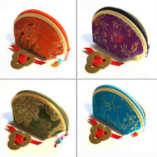 Chinese Silk COIN PURSE + 3 Lucky Coins: 8 Rich Vibrant Colours. Feng Shui NEW