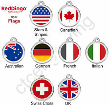 Red Dingo FLAGS Engraved Dog ID Pet Tag / Charm - Lifetime Guarantee