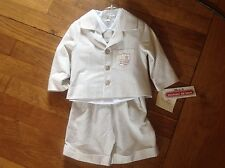 Little Darlings Boys Beige & White Stripe 4 Piece Suit Outfit 12m 1 year  RRP72
