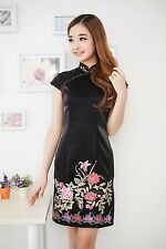 Black with Red Flower Patten Evening Dresss Women Short-sleeved Dress Cheongsam