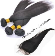 100% Cambodian Virgin Remy Human Hair- Silky Straight 3X100g & Lace Closure 5A
