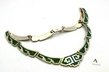 Taxco Sterling Silver Mexican Motif Turquoise & Malachite Stone Inlay Necklaces