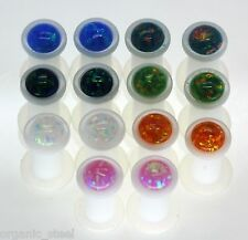 Synthetic Fire Opal White Acrylic Ear Plug Pair single flare stretcher tunnel