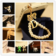 3.5mm Crystal Animal Anti Dust Earphone Jack Plug Cover Charm For iPhone Android