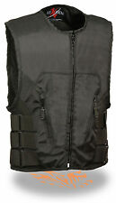 Mens Black Textile SWAT Zipper Front Motorcycle Vest Concealed Gun Pockets