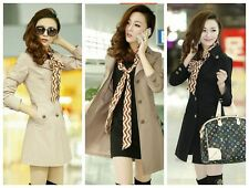 new Women spring Slim Fit ladies tunic trench long coat Outwear Jacket