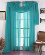 "Sheer Window SHORT Scarf Valance Topper Curtain Drapes in 7 Colors!!   40""x144"""