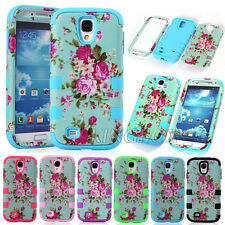 Floral Dual Layer 3in1 Shockproof Heavy Duty Matte Case Cover For iPhone Series