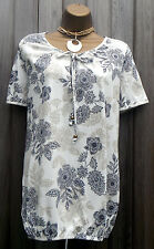 Lovely Summer Cream Floral Tunic Top 14 16 18 20 22 24