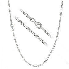 Solid 925 Sterling Silver 2.2mm Italian Figaro Link Chain Necklace ALL SIZES
