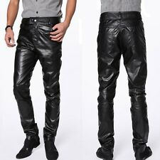 New Men Casual Sexy Blacks Tapered PU Faux Leather Trouser Chaparajos Pants