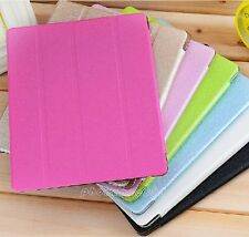Four-Fold Slim Silk Leather Magnetic Smart Stand Cover Case For Apple iPad 2/3/4