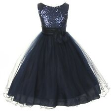 Navy Blue Flower Girls Sequin Glitter Beaded Dress Christmas Pageant Graduation