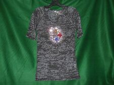 Pittsburgh Steelers Burnout Tee With Bling In Black 3029