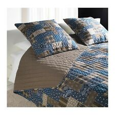 Ikea Bedspread and 2 Cushion Covers Blue Brown Brand New