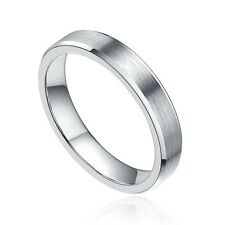4mm Tungsten Ring Brush Wedding Band Men's Women's Jewelry Silver Half Size 4-14