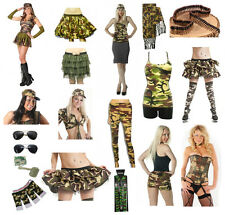 Ladies Army Camouflage Hen Party Sexy Fancy Dress Military Costume Accessories