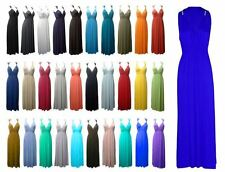 NEW LADIES WOMENS JERSEY GRECIAN SPRING COIL SLEEVELESS MAXI DRESS SIZE UK16-22