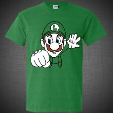 Super Mario game LUIGI Bros Nintendo cute funny comic t-shirts top Green shirt