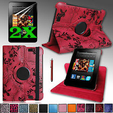 "Rotating PU Leather Case Swivel Stand Cover for 2012 Kindle Fire HD 7"" 1st Gen"