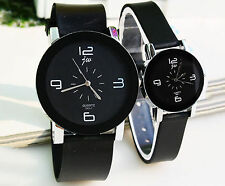 PU Leather Couple Lover Stainless Steel Mens Womens Quartz Wrist Watch Watches