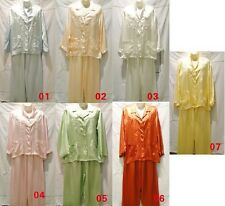 Women's Silk Satin Pajama Sets Top+ Pants Colorful Embroider Sleepwear Lady