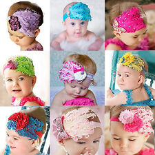 Elastic Baby Kid Girl Infant Hair Band Lace Flower Bow Peacock Feather Headband
