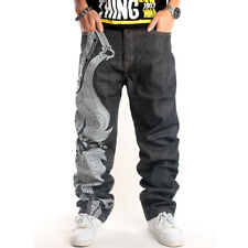 New Mens Hip Hop Cool Jeans Baggy Embroidery Straight Denim Streetwear W30 - W44