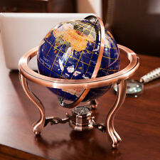 Desktop World Globe Semi-precious Gem stone with Metal Stand And Compass GIFT