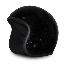 Black Metal Flake Open Face Retro 3/4 Motorcycle Helmet DOT Cruiser S M L XL 2XL