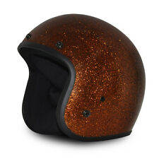 Brown Metal Flake Open Face Retro 3/4 Motorcycle Helmet DOT Cruiser S M L XL 2XL