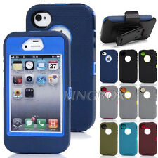Heavy Duty Rugged Impact TPU Combo Case Cover +Belt Clip Holster for iPhone 4 4S
