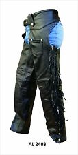 Mens Black Buffalo Leather Motorcycle Chaps w Fringe