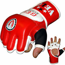 VELO Leather MMA Gloves Boxing Punch Bag Grappling Fight Gel UFC Muay Thai Kick
